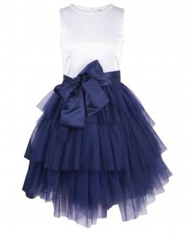 Платье с синей юбкой из сетки OUTLET