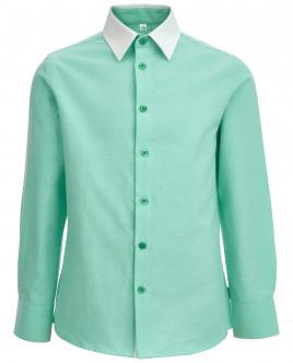 Зеленая рубашка с белым воротником OUTLET