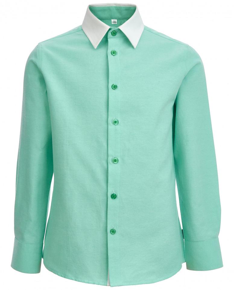 Зеленая рубашка с белым воротником