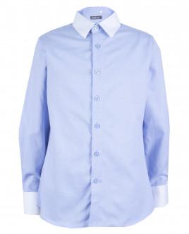 Голубая рубашка с белым воротником OUTLET