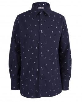 """Синяя рубашка с орнаментом """"Буквы"""" OUTLET"""