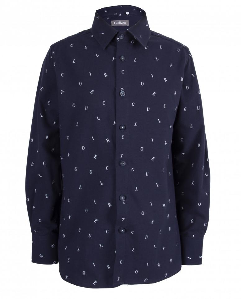 """Синяя рубашка с орнаментом """"Буквы"""""""