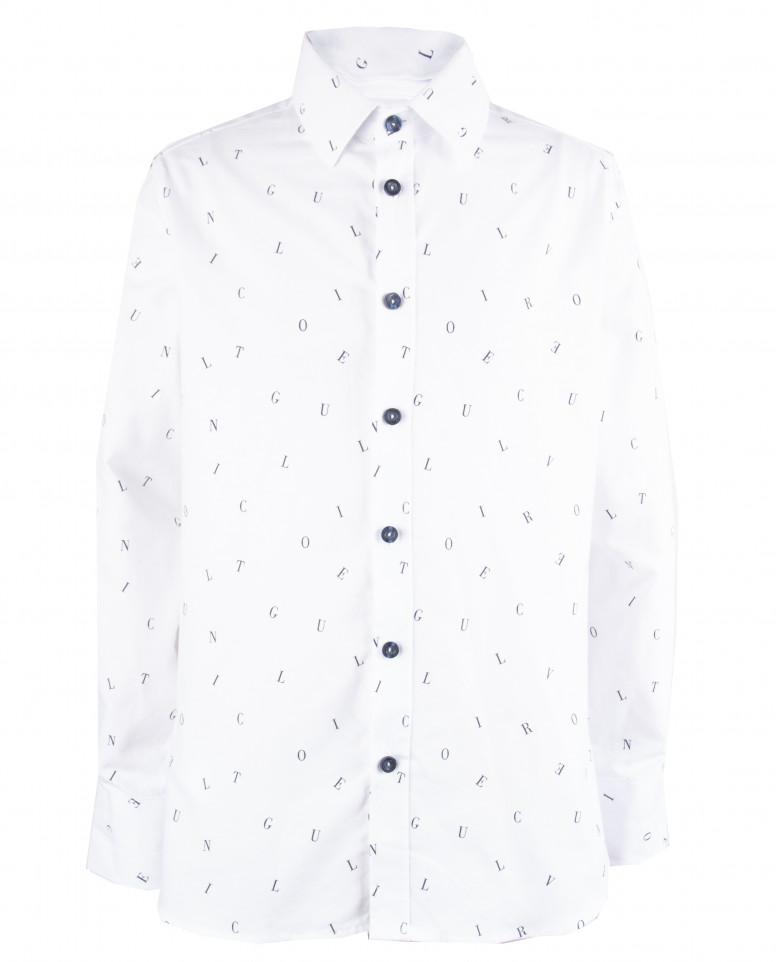 """Белая рубашка с орнаментом """"Буквы"""""""