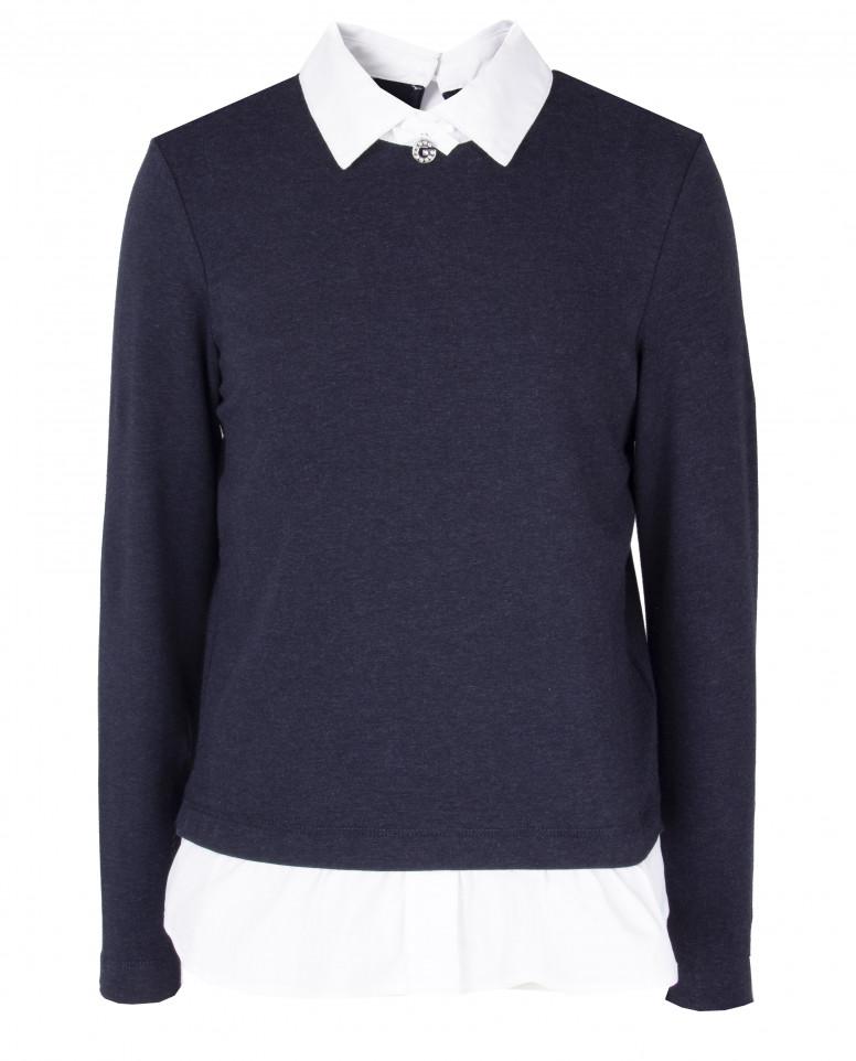 Многослойная синяя блузка