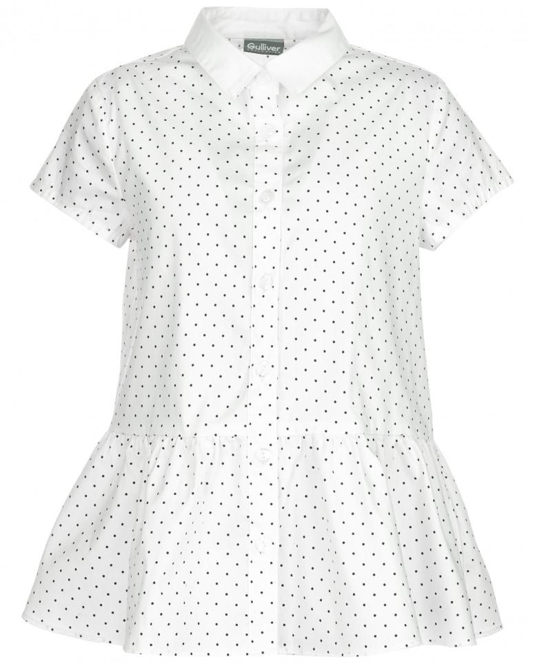 Блузка с коротким рукавом в горошек