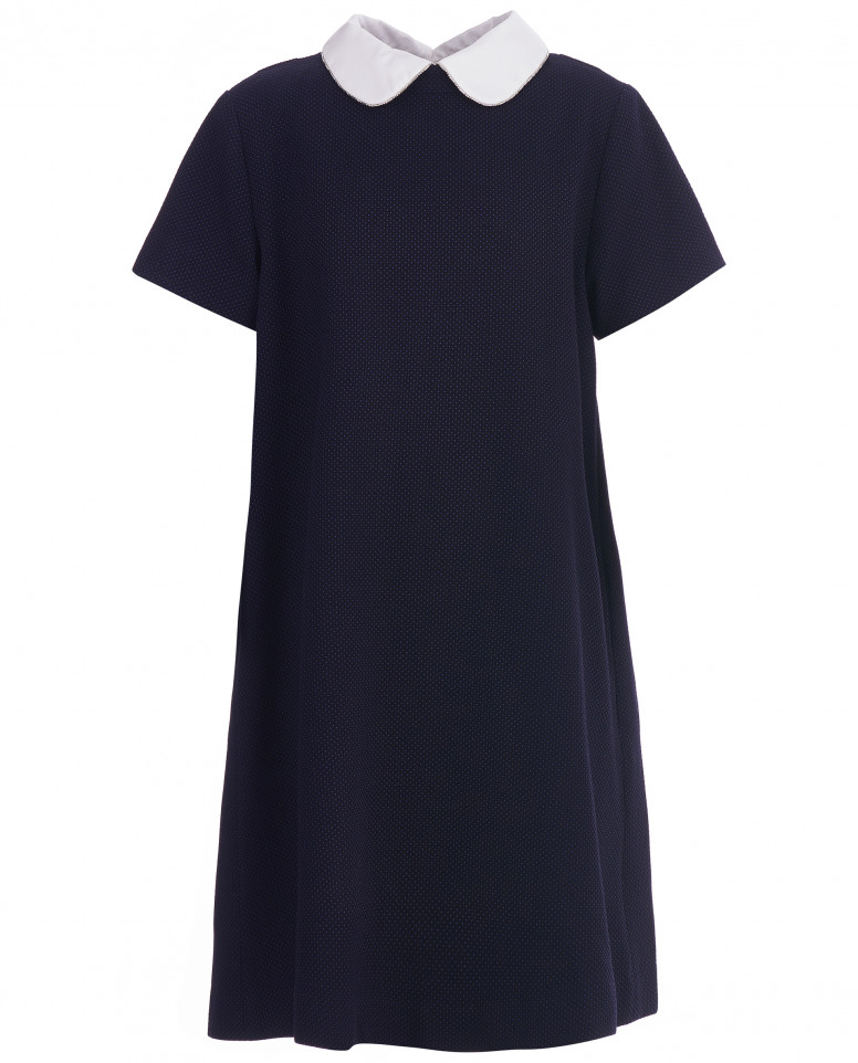 Синее платье с коротким рукавом