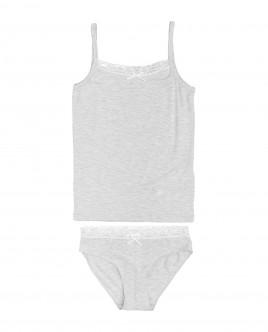 Комплект из майки и трусов для девочки Gulliver Gulliver Wear 21900GC9605 серого цвета