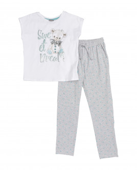 Girls' white and grey pajamas Gulliver