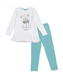 Girls' white and turquoise pajamas Gulliver
