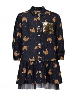 Купить 21902GMC2502, Серое платье с принтом и пайетками, Gulliver Wear, серый, 98, Женский