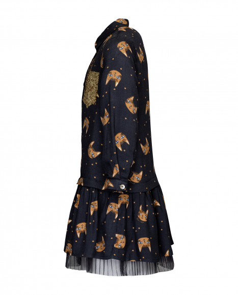Серое платье с принтом и пайетками
