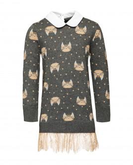 Серое вязаное платье Gulliver