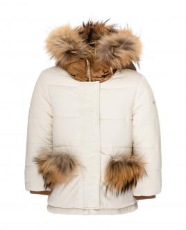 Купить со скидкой Зимняя куртка молочного цвета