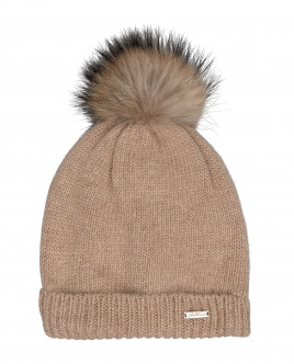 Beige knitted lined hat Gulliver