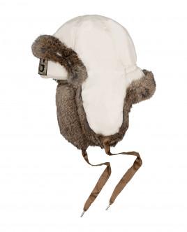 Шапка-ушанка молочного цвета Gulliver