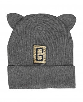 Grey knitted hat with ears Gulliver