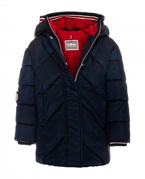 Синее зимнее пальто