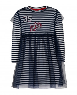 Купить 21903GMC5003, Синее платье в полоску, Gulliver Wear, синий, 104, Женский