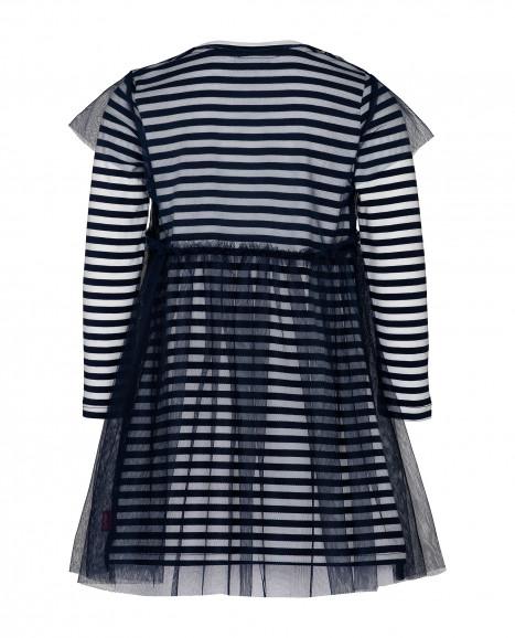 Синее платье в полоску