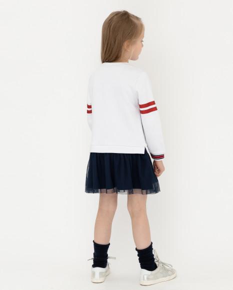 Красно-белое платье с принтом