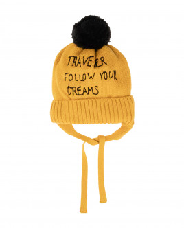 Желтая вязаная шапка на подкладке
