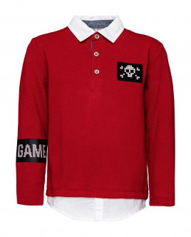 Red long sleeve polo shirt Gulliver