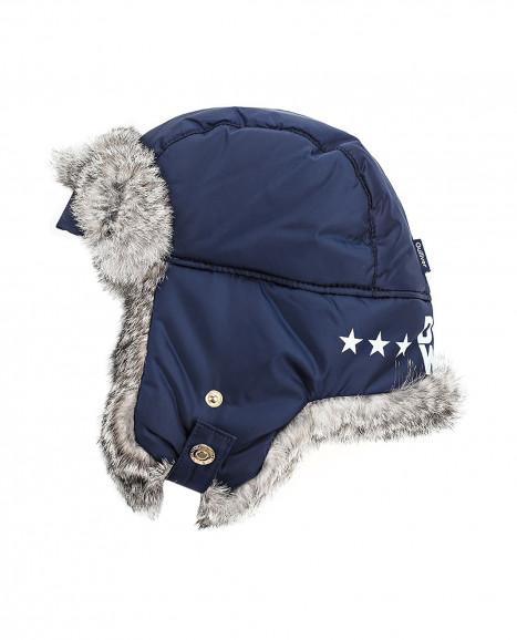 Синяя шапка-ушанка