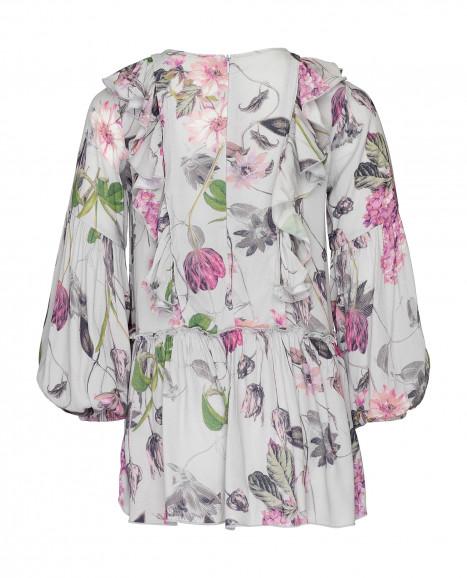 Серая блузка с принтом