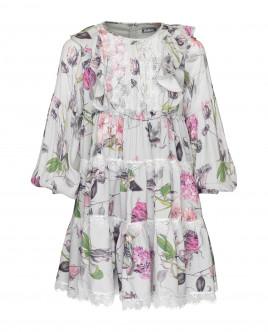 Купить со скидкой Серое платье с принтом