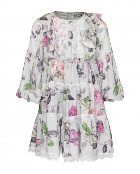 Серое платье с принтом