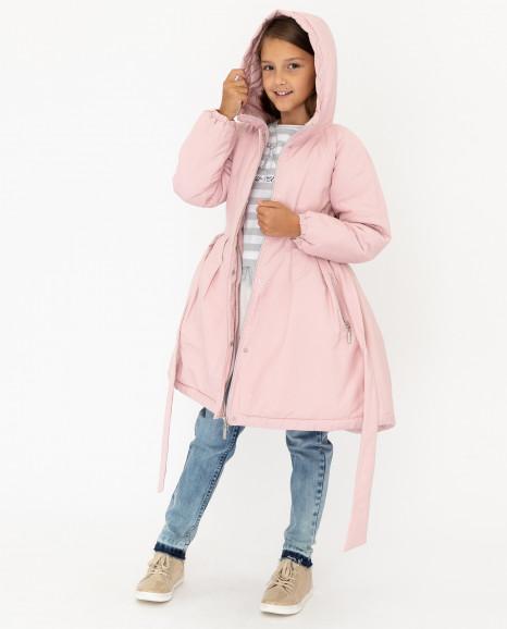 Розовое демисезонное полупальто
