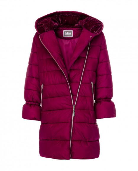 Малиновое зимнее пальто