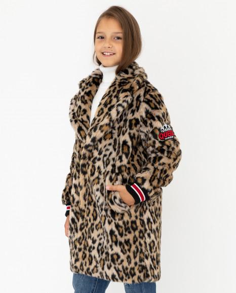 Демисезонное полупальто с леопардовым принтом
