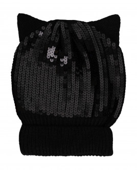 Black knitted hat with ears Gulliver