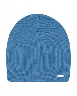 Синяя вязаная шапка