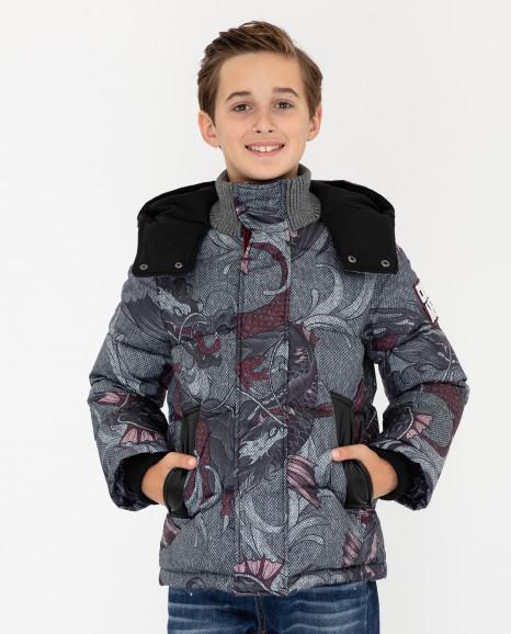 Серая зимняя куртка с принтом