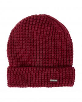 Бордовая вязаная шапка на подкладке