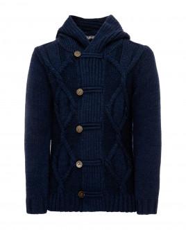 Купить 21911BJC3501, Синий кардиган с капюшоном, Gulliver Wear, синий, 134, Мужской