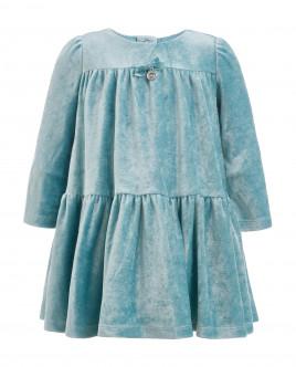 Бирюзовое велюровое платье