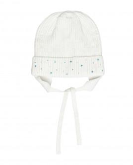 Белая вязаная шапка на подкладке Gulliver