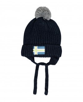 Синяя вязаная шапка на подкладке Gulliver