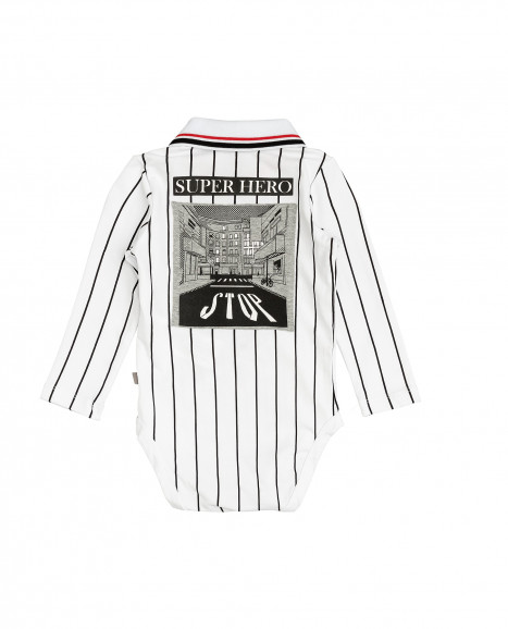 White printed bodysuit
