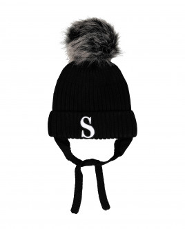 Black knitted lined hat Gulliver