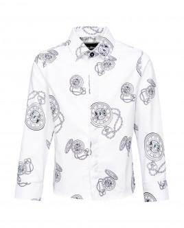 Купить со скидкой Белая нарядная рубашка с принтом