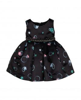 Черное нарядное платье с орнаментом Gulliver