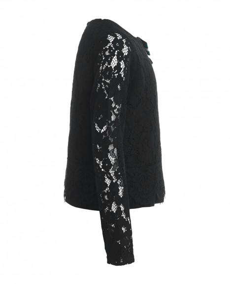Черная кружевная блузка