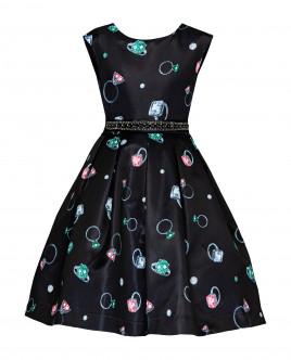 Черное нарядное платье с орнаментом 219GPGJC2504 фото