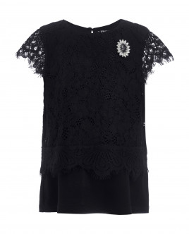 Black lace t-shirt Gulliver