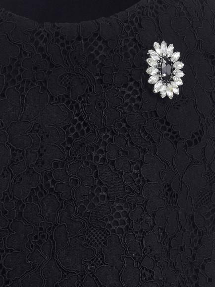Черная кружевная футболка Gulliver