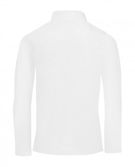Белое поло с длинным рукавом